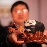 Afortunado dueño de una piedra-panda